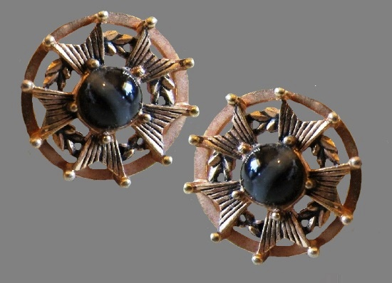 Maltese cross gold tone metal glass cabochon cufflinks