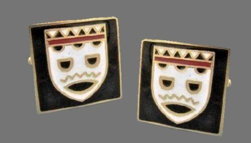 Mardi Gras black and gold tone cufflinks