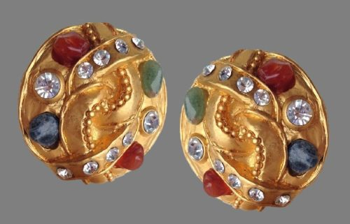 Matte gold Byzantine style earrings. Glass cabochons, crystals, rhinestones. 1980s