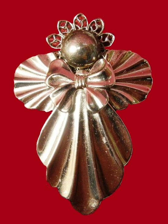 Metal angel pin brooch marked Ramona Crutcher