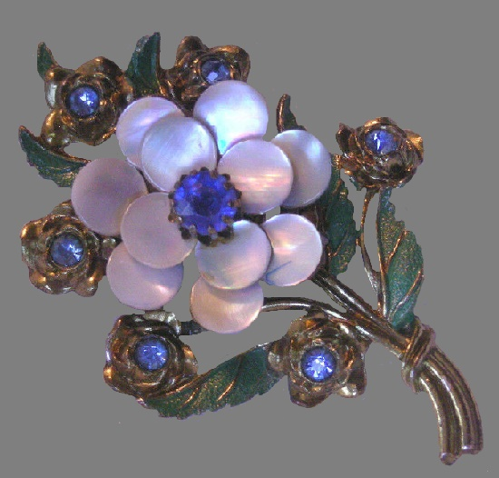Mother of pearl blue rhinestones pot metal flower brooch