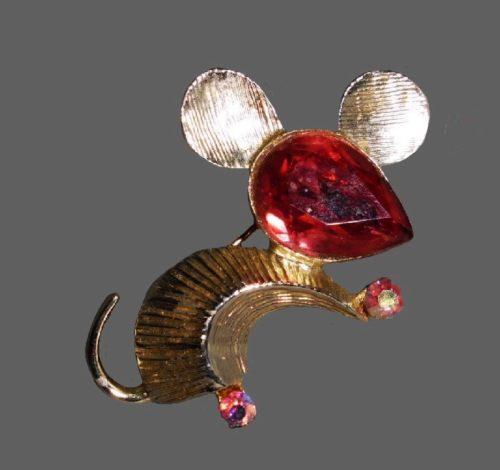 Mouse pin brooch pink silver metal, rhinestones