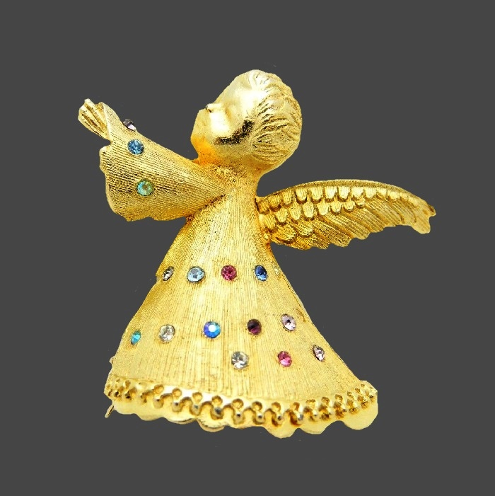 Multi color rhinestone gold tone Angel brooch