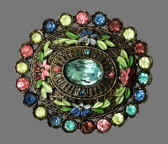 Multicolor rhinestones oval brooch