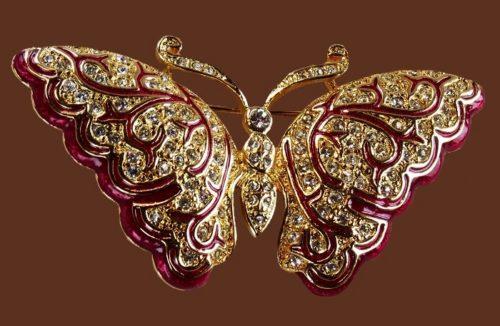 Napier vintage butterfly brooch. Jewelry alloy, enamel, rhinestones. 5.8 cm