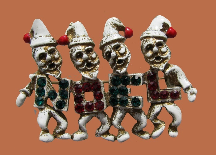 Noel Cristmas gnomes enameled brooch