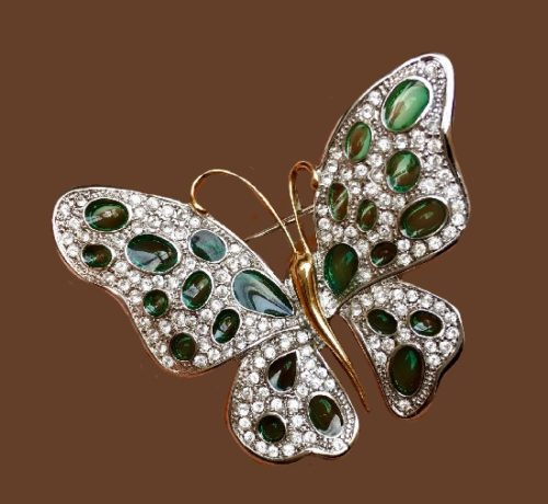 Butterfly jewelry symbolism and meaning. Nolan Miller vintage butterfly brooch. Austrian crystals, lucite, jewelry alloy. 6 cm