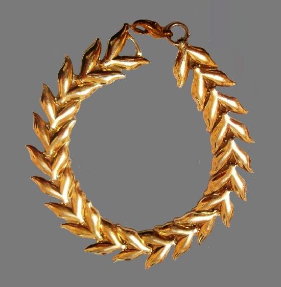 Olive branch gold tone vintage bracelet. 19 cm. 1970s