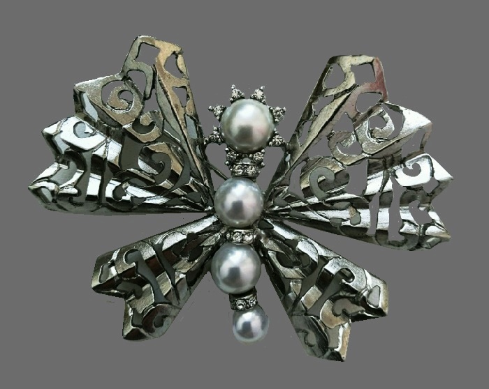 Oscar de la Renata vintage butterfly brooch. 6.5 cm