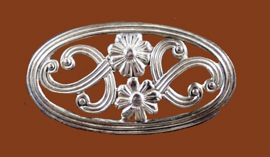 Oval Sterling Silver 14 K Flower brooch pin