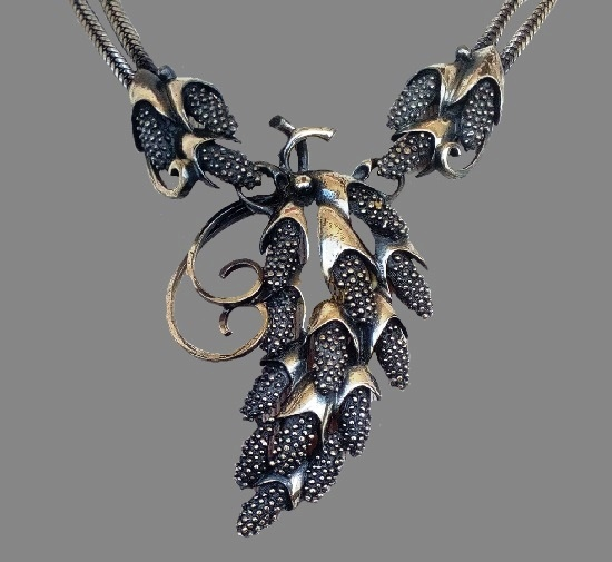 Signed Botticelli vintage costume jewelry. Pine cone Necklace and earrings of dark silver tone