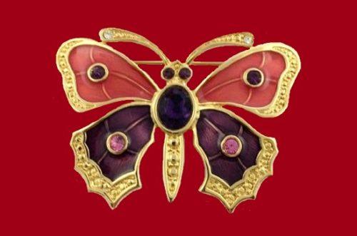 Pink & Purple Enamel Butterfly Pin