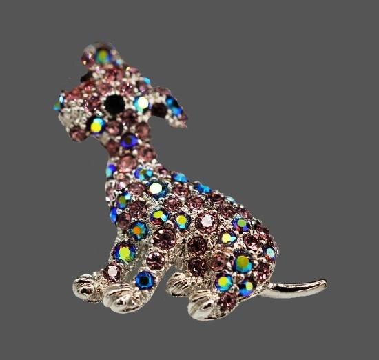 Puppy silver tone AB rhinestones brooch