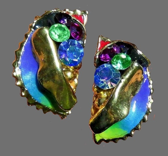 Rainbow blue, purple, yellow, green, red, black and rhinestone cluster gold plated stud earrings. 1988
