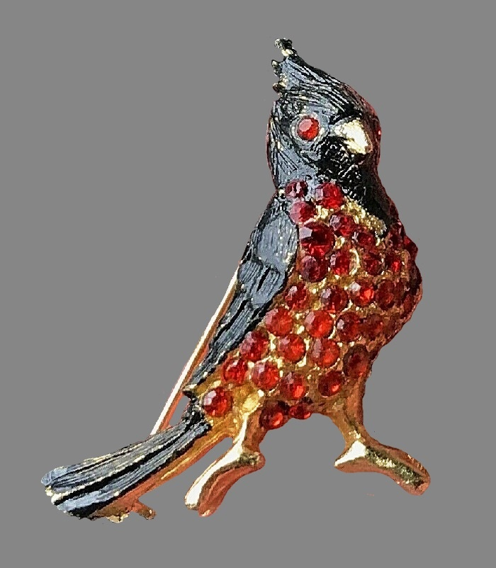 Red Cardinal vintage brooch. Gold tone jewelry alloy, rhinestones, enamel