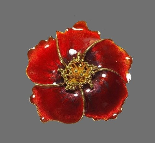 Red poppy enameled vintage brooch