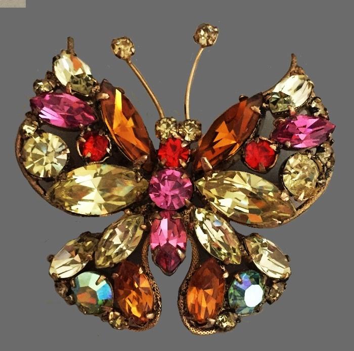 Regence vintage crystal brooch Butterfly. 4 cm