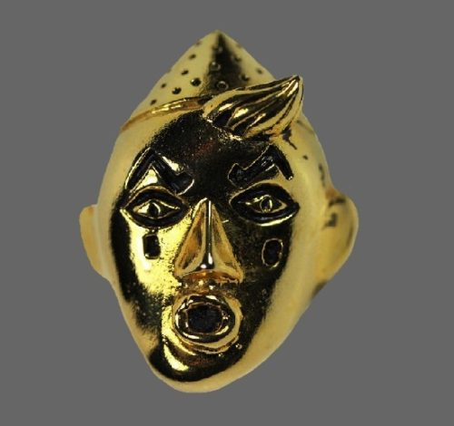 Rex, Clown vintage pin of gold tone. Signed Rex Isabel Canovas