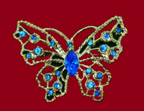 Royal blue rhinestone gold tone butterfly brooch