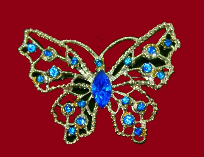 Royal blue rhinestone gold tone butterfly brooch