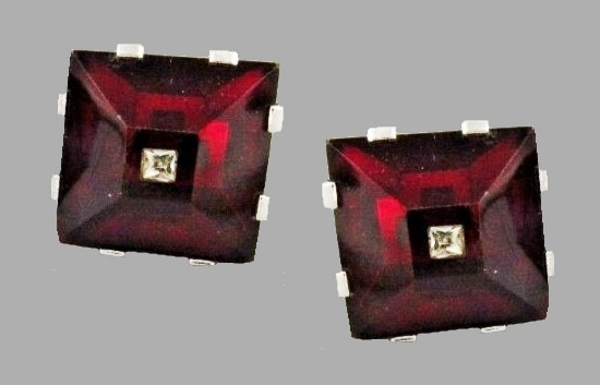 Ruby Red with transparent crystals vintage square shaped cufflinks