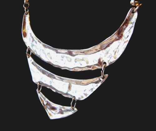 Silver plated runway haute couture bib necklace