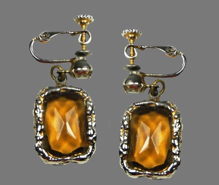 Smoky amber crystal rhinestone earrings