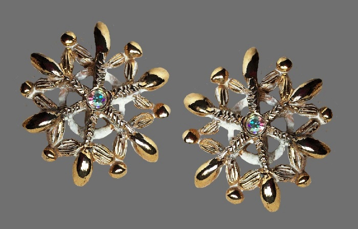 Snowflake earrings. Gold tone metal, crystals