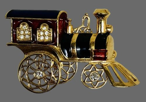 Steam train brooch. 1996. Gold tone jewelry alloy, enamel, rhinestones