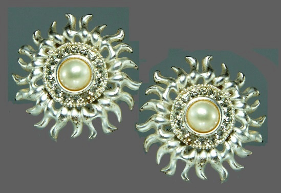 Sun earrings. Silver tone jewelry alloy, rhinestones