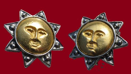 Sunface gold tone clip on earrings