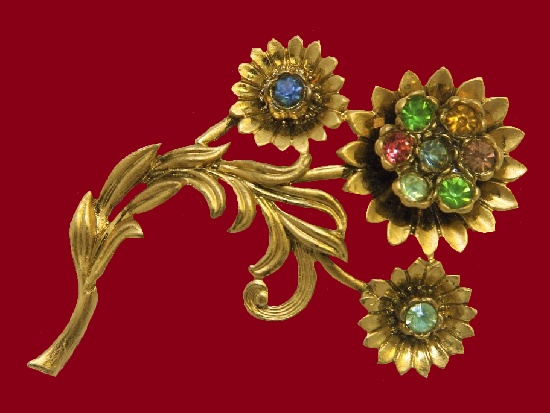 Sunflower brooch. Gold tone jewelry alloy, rhinestones. 8 cm