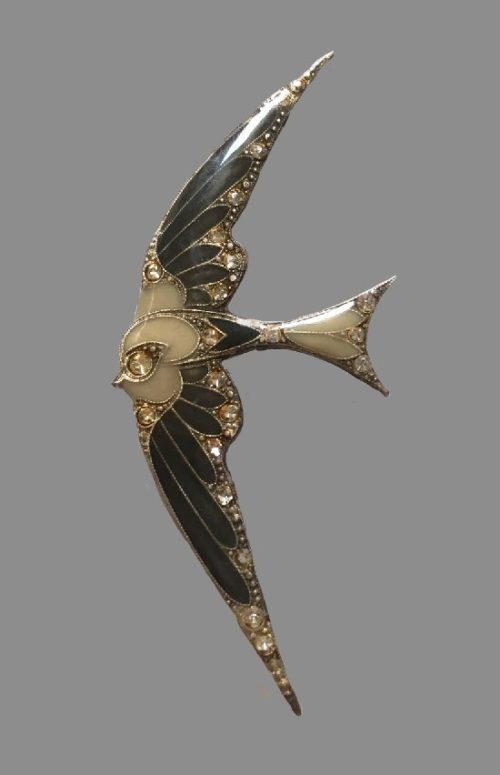Swallow vintage brooch. Copper, enamel, rhinestones. 8 cm