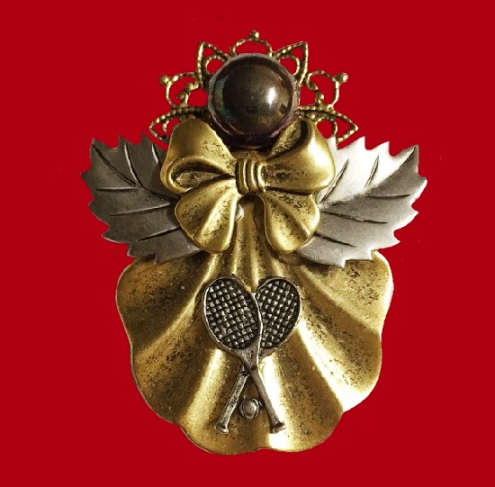 Tennis theme, bow and leaves pewter gold tone brooch pendant. Ramona Crutcher signed