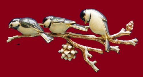 Three birds on a branch vintage brooch. Jewelry alloy, enamel. 7 cm