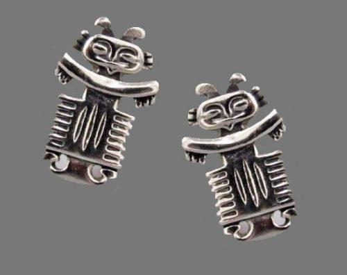 Totem silver tone vintage cufflinks