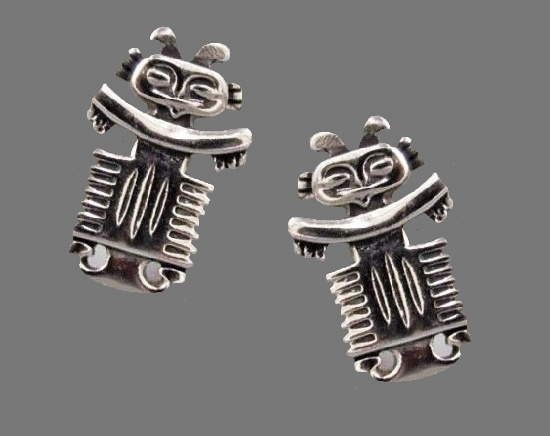 Totem silver tone vintage cufflinks