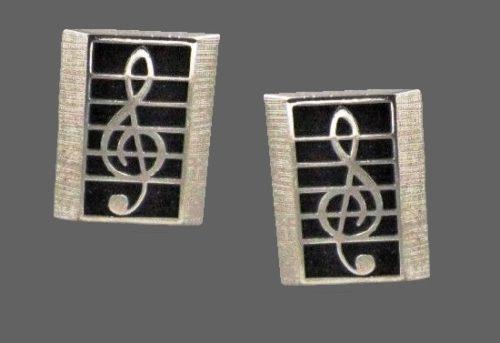 Treble Clef cufflinks. Vintage, silver tone metal, black enamel