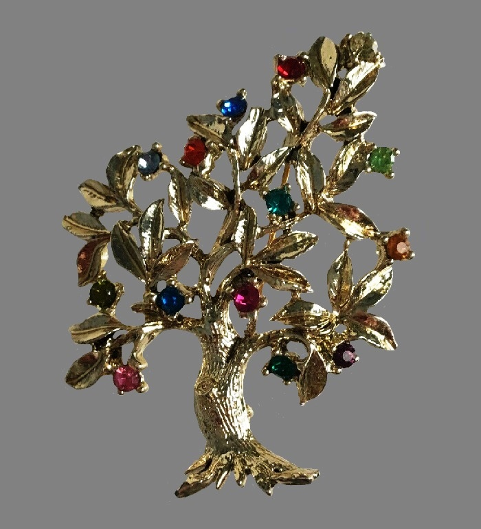 Tree of life vintage brooch. Jewelry alloy, multicolor crystals, rhinestones. 1960s