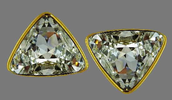Triangle shaped gold tone crystal earrings