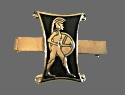 Trojan warrior silver tone black background tie clip