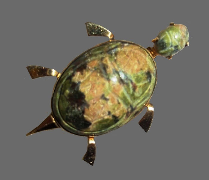 Turtle brooch. Vintage W E Richards sterling silver gold filled