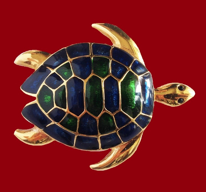 Turtle gold tone enameled brooch. 1970s