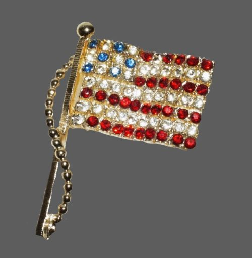 United States Flag. Red, blue and clear rhinestones, gold tone metal