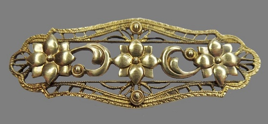 Victorian style sterling silver gold filled brooch