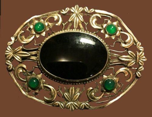 Vintage Art Nouveau Symmetalic Onyx Sterling 12k Brooch