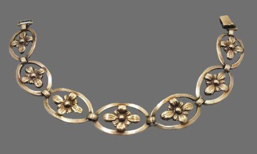 Vintage mid century sterling silver 14 gold filled flower bracelet