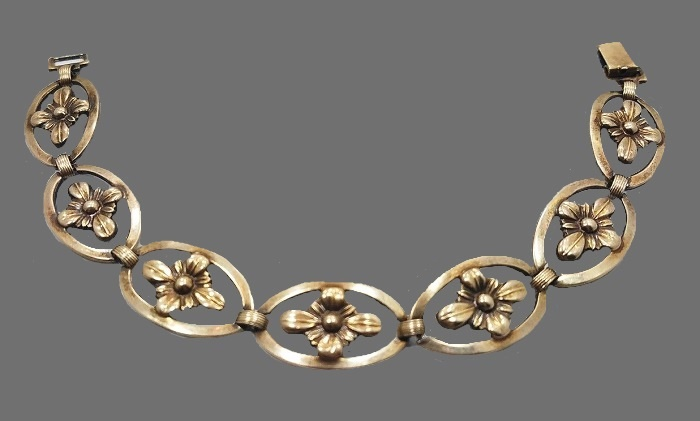 Vintage mid century sterling silver 14 gold filled flower bracelet