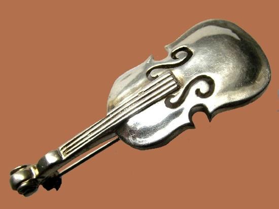 Violin 925 silver brooch