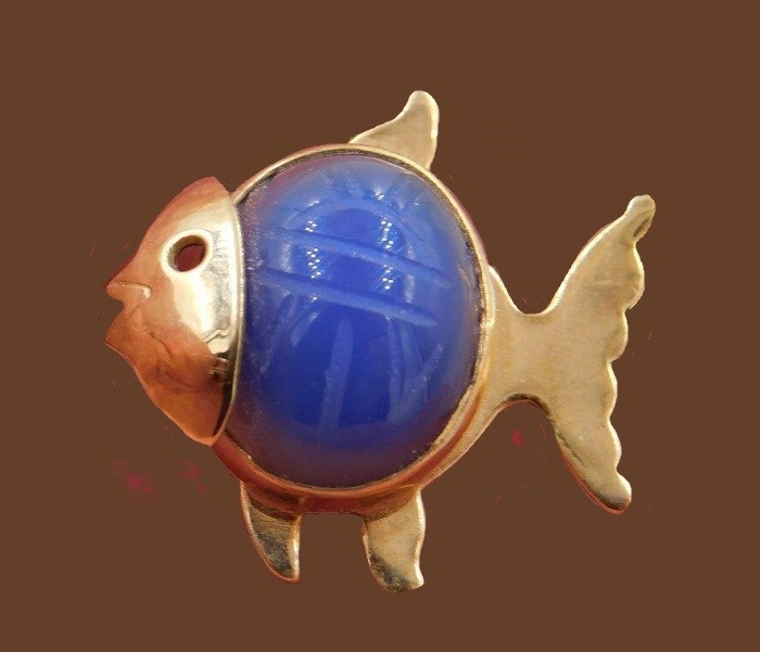 W.E. Richards 12K Gold filled Scarab Fish brooch pin